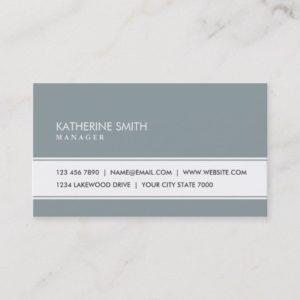 Professional Elegant Plain Simple Green Gray Business Card