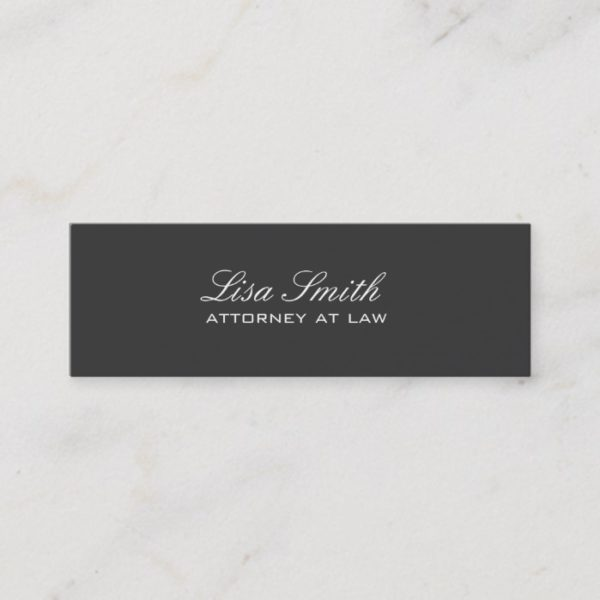 Professional Elegant Simple Plain Attorney Black Mini Business Card