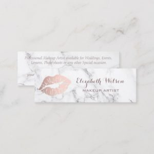 Professional Makeup Artist rose gold lips Mini Business Card