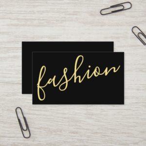 Professional Modern Black&Gold Fashion Stylist Business Card