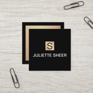 Professional Modern Black Gold Monogram Square Square Business Card