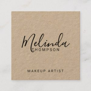Professional Modern Script Kraft Paper Square Business Card