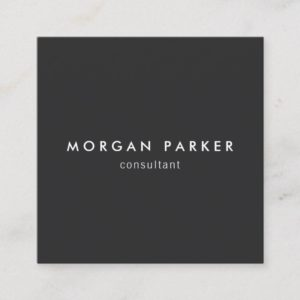Professional Modern Simple Black Square Square Business Card