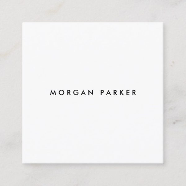Professional Modern Simple Black White Square Square Business Card