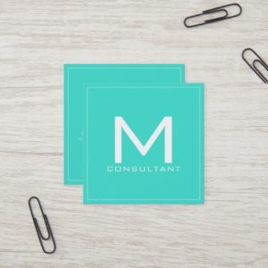 Professional Monogram Elegant Modern Turquoise Square Business Card