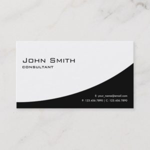 Professional Plain Elegant Modern Black and White Business Card
