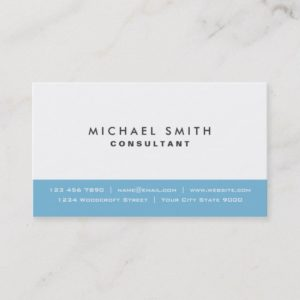 Professional Plain Elegant Modern Blue and White Business Card