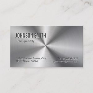 Professional Plain Sliver Radial Metallic Look Business Card