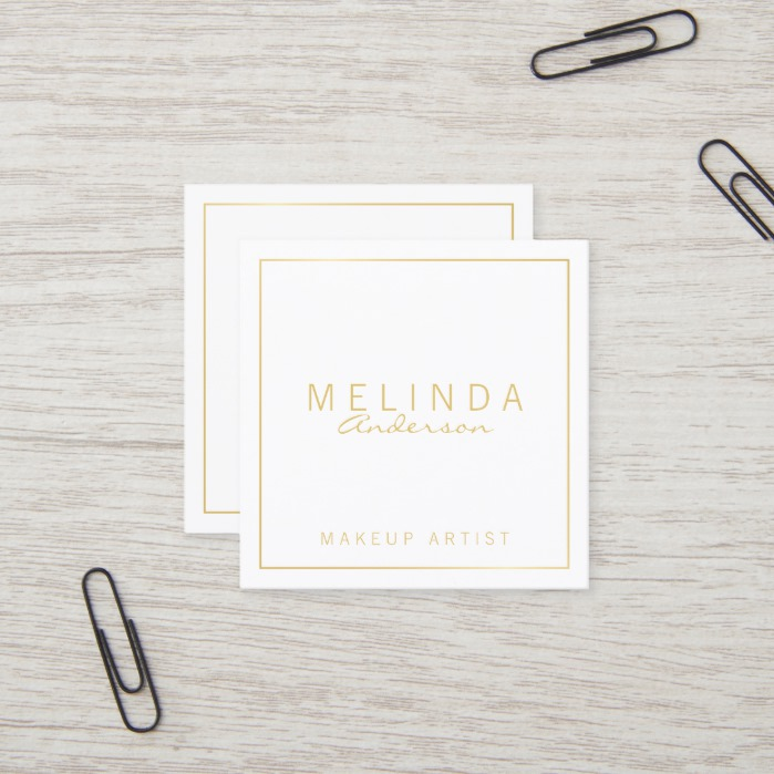 Professional Simple Modern White and Gold Square Business Card