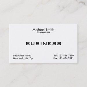 Professional White Plain Elegant Modern Simple Business Card