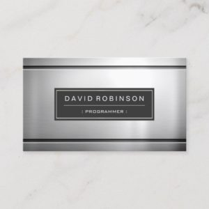 Programmer - Premium Silver Metal Business Card