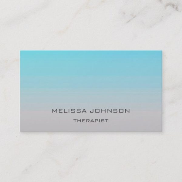 Psychologist Therapist Couch Ombre Blue Gray Business Card