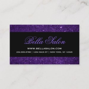 Purple and Black Glam Faux Glitter Business Card