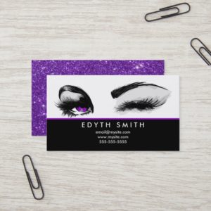 Purple Glitter Mascara or Eyelashes Business Card
