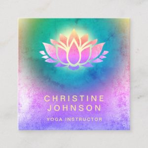 purple green blue lotus flower yoga instructor square business card