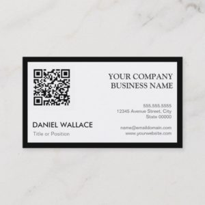 QR Code - Modern Professional Black White Business Card