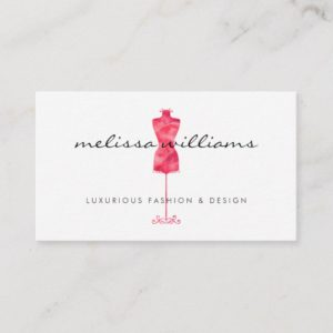 Red Watercolor Dress Mannequin Fashion Boutique Business Card