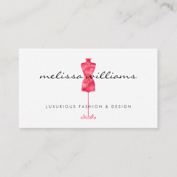 Red Watercolor Dress Mannequin Fashion Boutique Business Card Business Card Branding