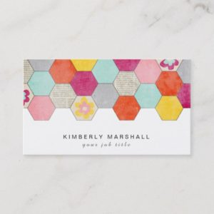 Retro Honeycomb Design Business Cards / Gray