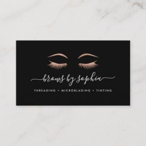 Rose Gold Lashes & Brows Business Card