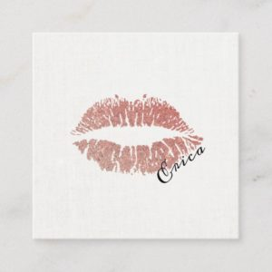 Rose Gold Lips with Name Makeup Artist Square Business Card