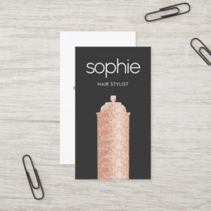 Rose Gold Sequin Hairstylist Black Beauty Salon Business Card
