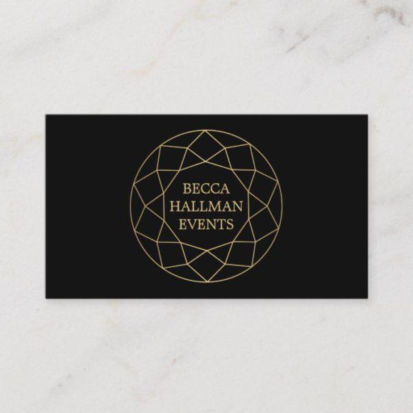 Round Geometric Gemstone Logo Gold/Black Business Card