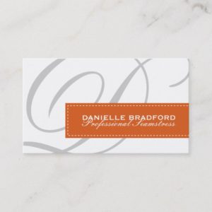 Rust Orange Monogram Business Cards