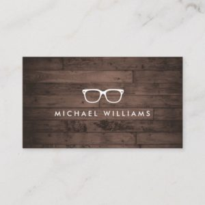 Rustic and Refined Eyeglasses Logo Brown Wood Business Card