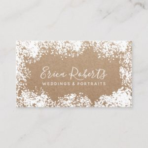Rustic Baby's Breath Wedding Portrait Photography Business Card