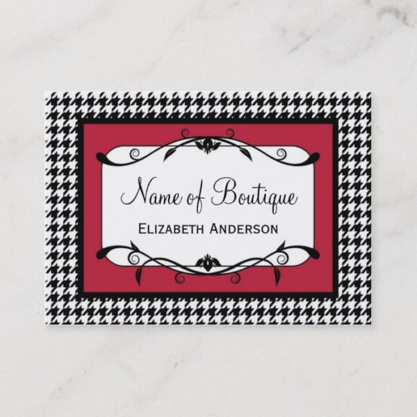 Samba Red and Black Houndstooth Fall Fashion Business Card