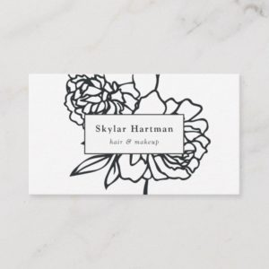 Secret Garden | Black and White Floral Business Card
