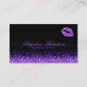 Shimmering Purple Lips Black Business Card