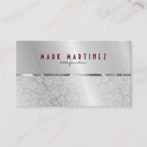 Silver Gray Metallic Design & Damasks- Monogramed Business Card
