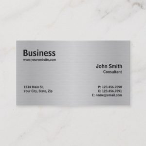 Silver Professional Metal Elegant Modern Plain Business Card