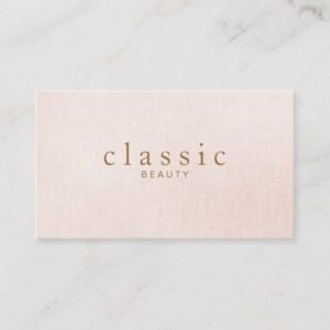 Simple and Classic Beauty Pink Linen Look Business Card