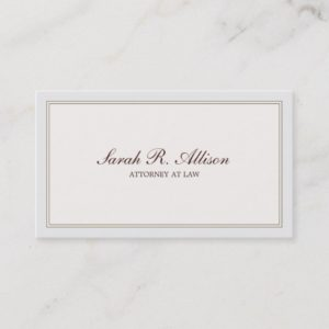 Simple and Elegant Attorney Ivory with Border Business Card