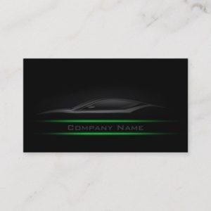 Simple Black Minimalist Green Line Car Card