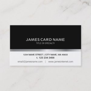 Simple Black/White Silver Line business card
