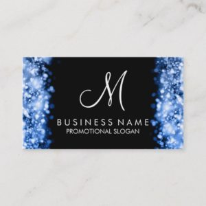 Simple Blue Lights Monogram Business Card