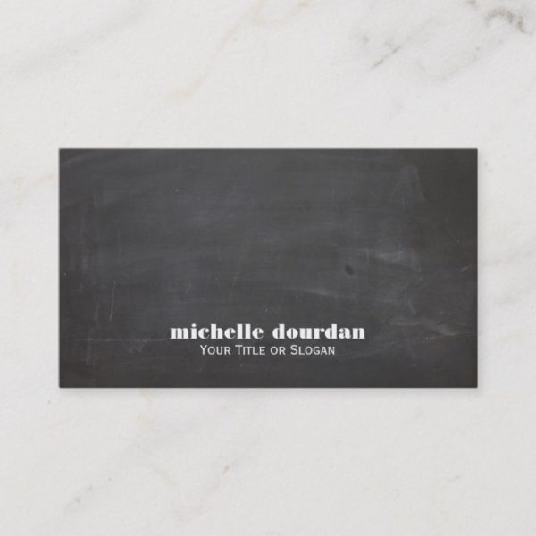 Simple Cool Chalkboard Rustic Unique Black Business Card
