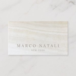 Simple Elegant Beige Marble Stone Business Card