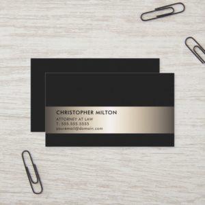 Simple Elegant Black Faux Metal Stripe Attorney Business Card