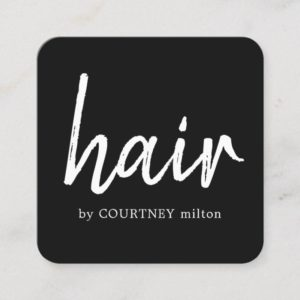 Simple Elegant Black White Hair Stylist Square Business Card