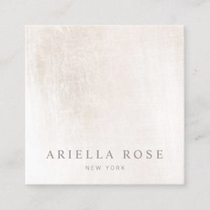 Simple Elegant Brushed White Marble Professional Square Business Card