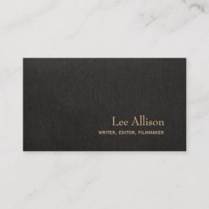 Simple Elegant Faux Black Linen Professional Business Card