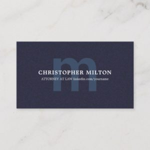 Simple Elegant Texture Blue MonogramConsultant Business Card