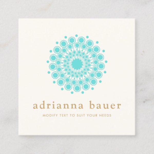 Simple Elegant Turquoise Blue Mandala Square Business Card