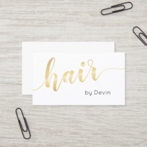 Simple Gold Script Typography Hair Stylist Salon Business Card