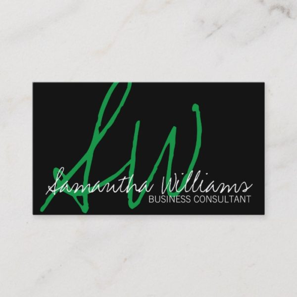 Simple Green Initials Professional Business Cards